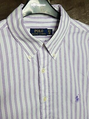 Polo By Ralph Lauren Mens Shirt White Purple Stripe Large Long Sleeve