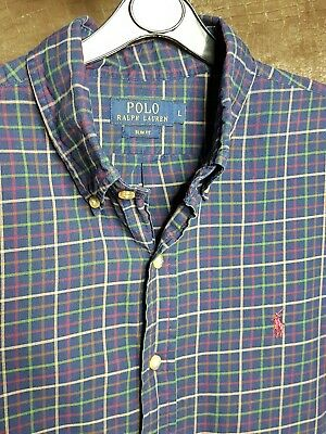 Polo By Ralph Lauren Mens Shirt Blue Green Red Checked Large Slim Fit Long...