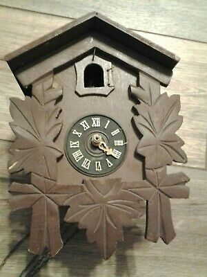 VINTAGE OLD small GERMAN CUCKOO WALL CLOCK HAS SOME CHAINS PARTS REPAIR ONLY