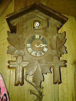 Vtg OLD small CUCKOO WALL CLOCK SOME CHAINS PARTS REPAIR ONLY no back