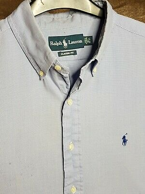 Polo By Ralph Lauren Mens Shirt Blue White Checked Xl Long Sleeve