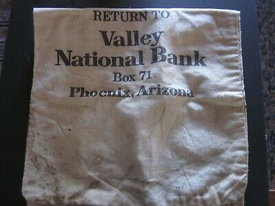Vintage Canvas Deposit Bank Bag From Valley National Bank Phoenix Arizona Large
