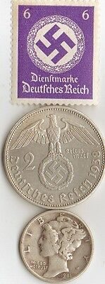 """-*WWII -  """"SILVER"""" - *us  and *german   coins/STAMP  +"""