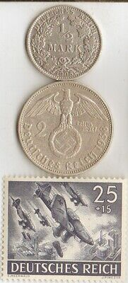 """#-1-F)-*free  WW2- *german"""" PW""""-card in France+""""SHUKA""""-Dive Bomers-stamp+ coins"""
