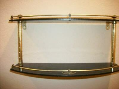 Vintage Bath Shelf Black Beauty Ware Brass Gallery Faux Marble Mid Century