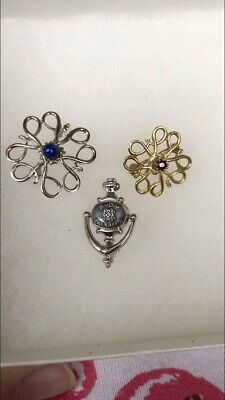 3 X Vintage Knocker And Flower Silver Gold Avon Rep Badges Brooches