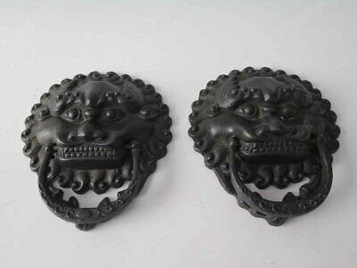 One Pair of  Chinese Antique Brass Foo Dog Head Door Knocker