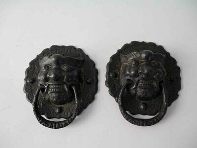 One Pair of  Chinese Vintage Brass Foo Dog Head Front Door Knocker