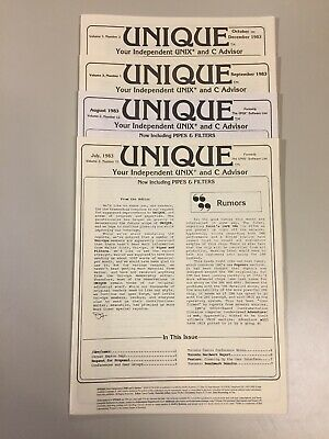 4 Vintage 1983 UNIQUE Your Independent UNIX and C Advisor Newsletter