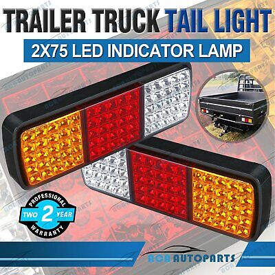 2X Tail Lights DC 12V Brake Reverse 75-LED Trailer Truck UTE Caravan ADR Approve