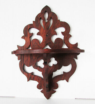 Antique WALL DISPLAY CLOCK SHELF Carved Oak Wood Victorian Eastlake ALL ORIGINAL