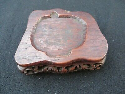 """Antique Chinese Wooden Finely Carved Base Stand 3.5"""" Diameter"""