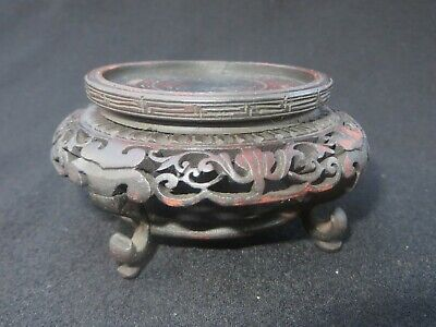 "Antique Chinese Wooden Finely Carved Base Stand 3.5"" Diameter"