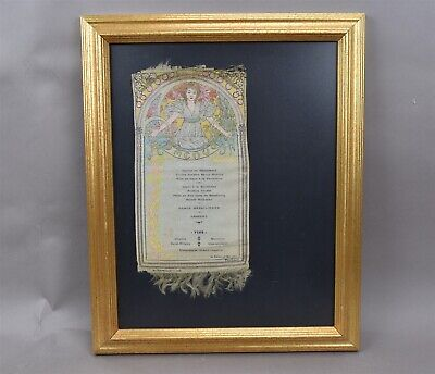 Alphonse Mucha French Silk Menu Art Nouveau Embroidered 1905 Restaurant Framed