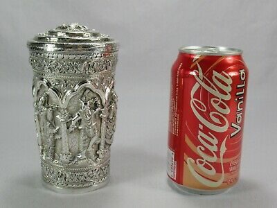 Antique Southeast Asian Pure Silver Hand Made Repousse Container Box w Buddhas