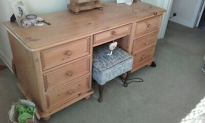 Antique pine long dressing table with drawers