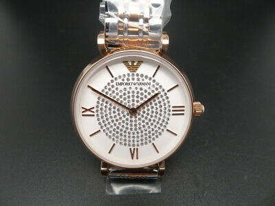 New Old Stock Emporio Armani Ar1926 Rose Gold&Stainless Steel Quartz Women Watch