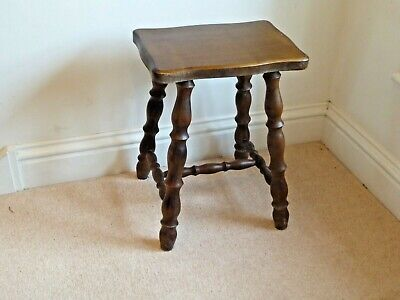 Vintage Oak Bobbin Turned 4 Legged Stool