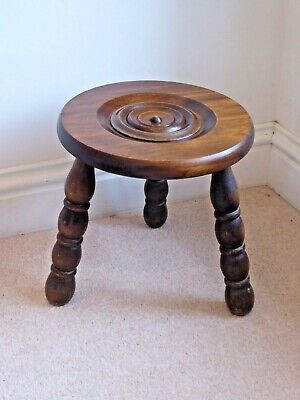 Vintage Small Round 3 Legged Bobbin Turned Oak Milking Stool