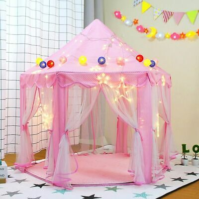 Kids Play House Folding Large Indoor Outdoor Pink Princess Castle Tent Toys