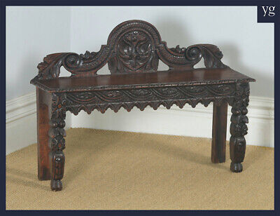 Antique English Victorian Gothic Carved Solid Oak Hall / Window Bench Seat Stool