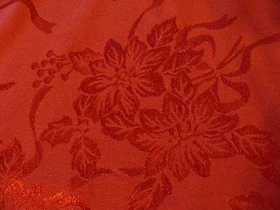 Vintage Reversible Damask Cloth Red Poinsettias Christmas Tablecloth