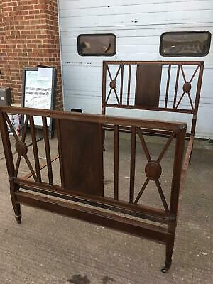 "Stunning Antique/Vintage Victorian Mahogany Double Bed 4' 6"" With Metal Supports"