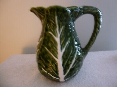 "Cabbage Leaf Pitcher, Olfaire Green, pottery Majolica, Portugal 8 1/2"" Tall"
