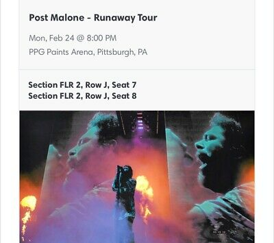 post malone tickets pa TWO TICKETS FRONT STAGE MONDAY 2/24