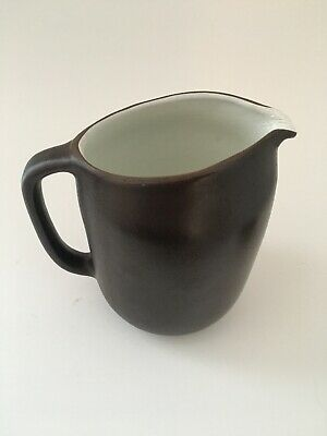 Edith Heath Brown And White Ceramic Pitcher. Mid Century California Pottery