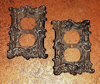 2 Vintage Outlet Brass Plate Covers Ornate Rose American Tack & Hardware
