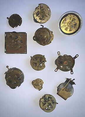 ANTIQUE BRASS WINDUP CLOCK MOVEMENTS x11. Job lot. Good For Spares Or Craft.