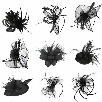 Small Mini Flower Hair Clip Feathers Fascinator Top Hat Wedding Royal Ascot Race