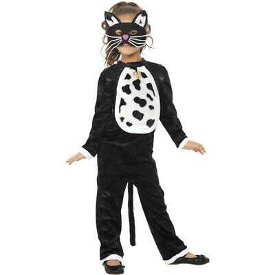 Cat Costume, All In One - Costume Fancy Dress Girls Black Halloween Outfit Mask
