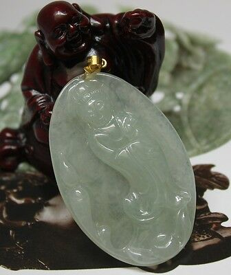 Natural Jade Certified Grade A Untreated Icy Jadeite Guan yin Pendant 18K
