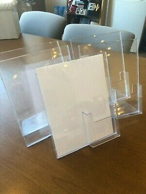 8.5 x 11 Acrylic Sign Holder with Brochure Pocket, Slant Back - Clear