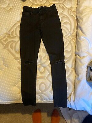 Next boys Black Super Skinny Jeans With Ripped Knees Age 13 Years
