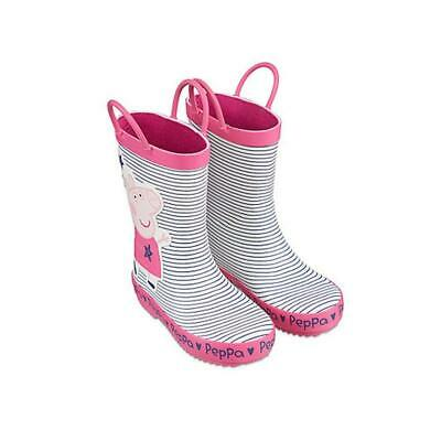 Peppa Pig Wellies Girls Wellingtons Boots Pink Stripe Kids Size 4-7 Official New