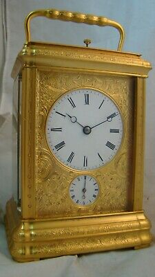 19th Century Restored engraved Gorge case repeater carriage clock