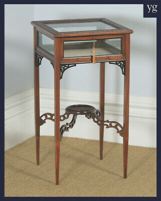 Antique English Edwardian Chippendale Style Mahogany Glass Bijouterie Table
