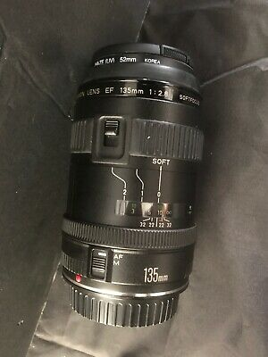CANON LENS EF 135mm 1:2.8 SOFTFOCUS WITH UV FILTER, COVERS AND, CASE