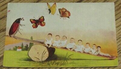 Used Postcard - Babies & Insects on a See-Saw (FC1-4)