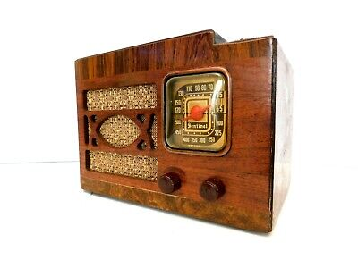 VINTAGE 1930s EXCELLENT OLD SENTINEL PUSHBUTTON  ART DECO WORKING ANTIQUE RADIO