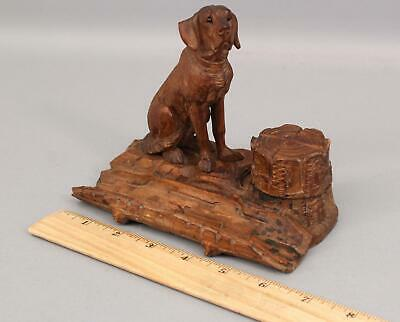 Antique German Black Forest Hand Carved Wood Hound Dog Sculpture & Inkwell, NR