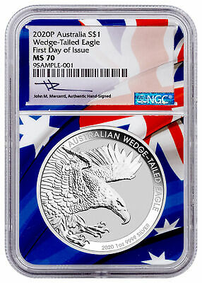2020 P Australia 1 oz Silver Wedge-Tailed Eagle NGC MS70 FDI Flag Core SKU60484