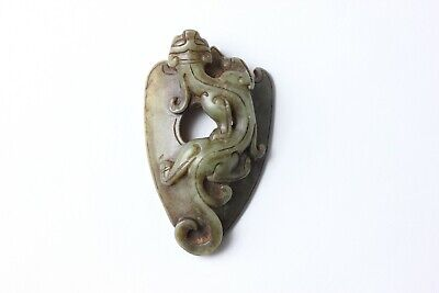 Chinese carved green color jade Amulet of a Dragon, China