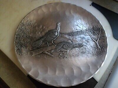 Vintage Wendall August Hand wrought Aluminum plate with  Wild Turkeys?