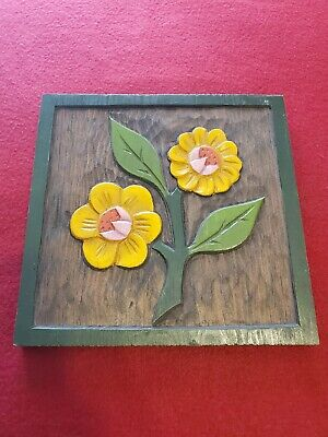 """Vintage 60s Carved Wood Wall Hanging Flowers Hippy Shabby Chic 8""""X8"""""""