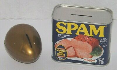 2 Vtg Advertising Coin Banks Spam Can w Coins Inside Red Goose Shoes Gold Egg
