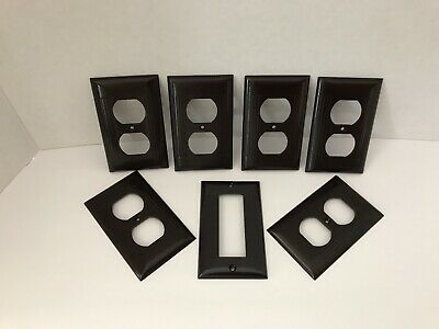 Vintage Sierra Electric Ribbed Brown Bakelite Receptacle Covers - Lot of 7
